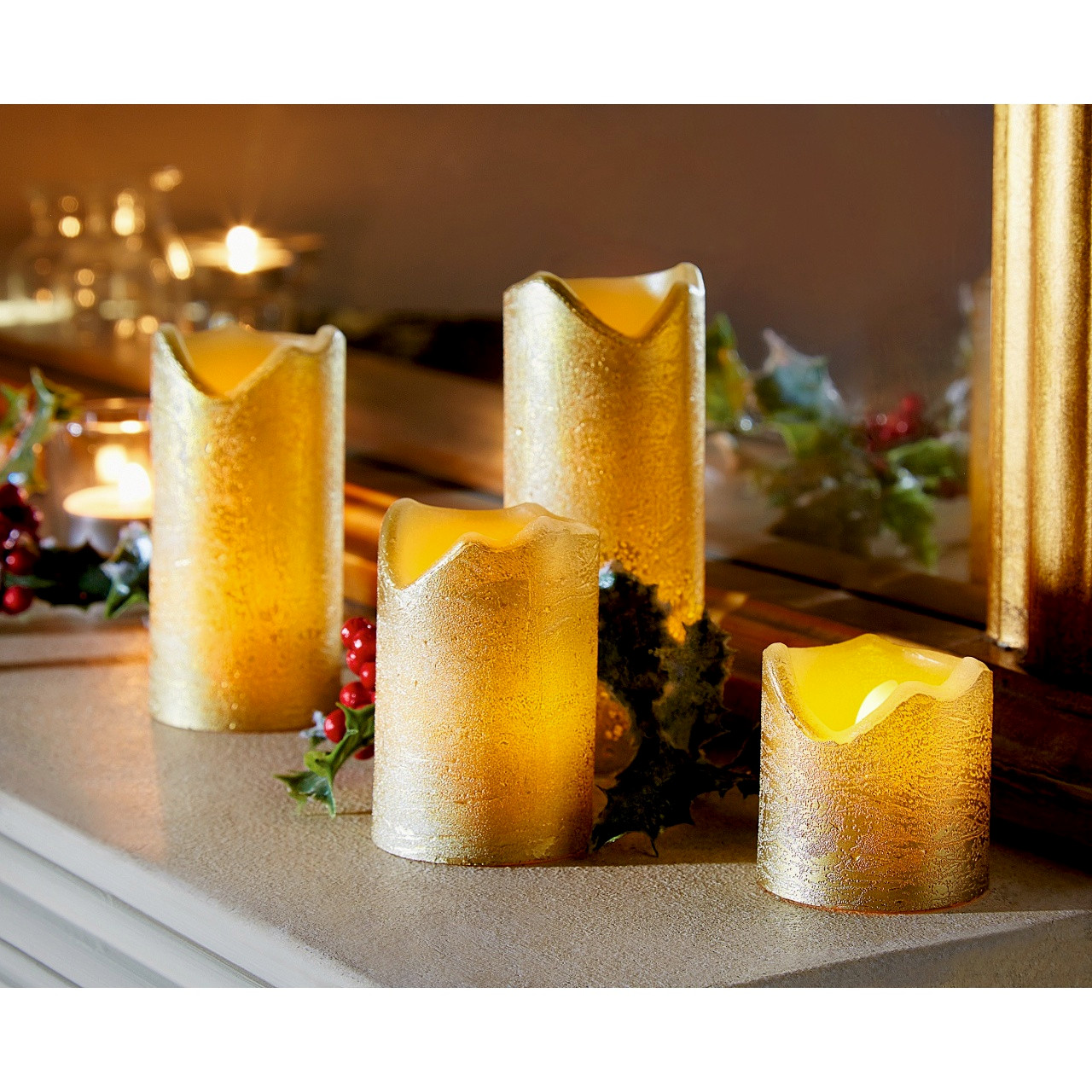 Flame Free Led Wax Pillar Candles Set Of 4 Scotts Of Stow