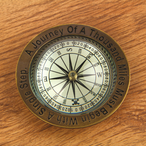 Journey of a Thousand Miles Compass Paperweight