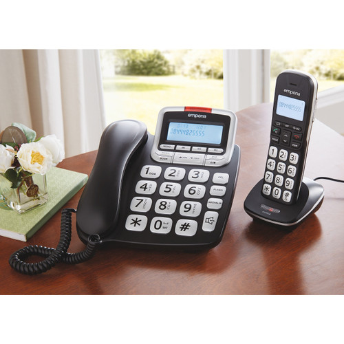 Big Button Landline and 2 Cordless DECT Handsets Phone Bundle