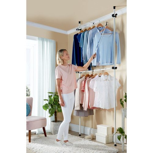 Telescopic Wardrobe Organiser Double Hanging Rail