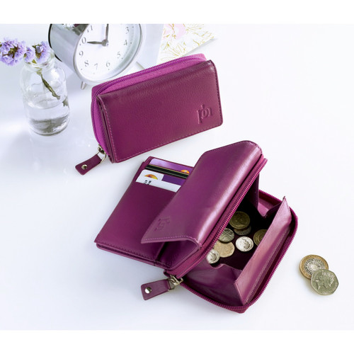 Ladies Leather RFID Coin Tray Purse
