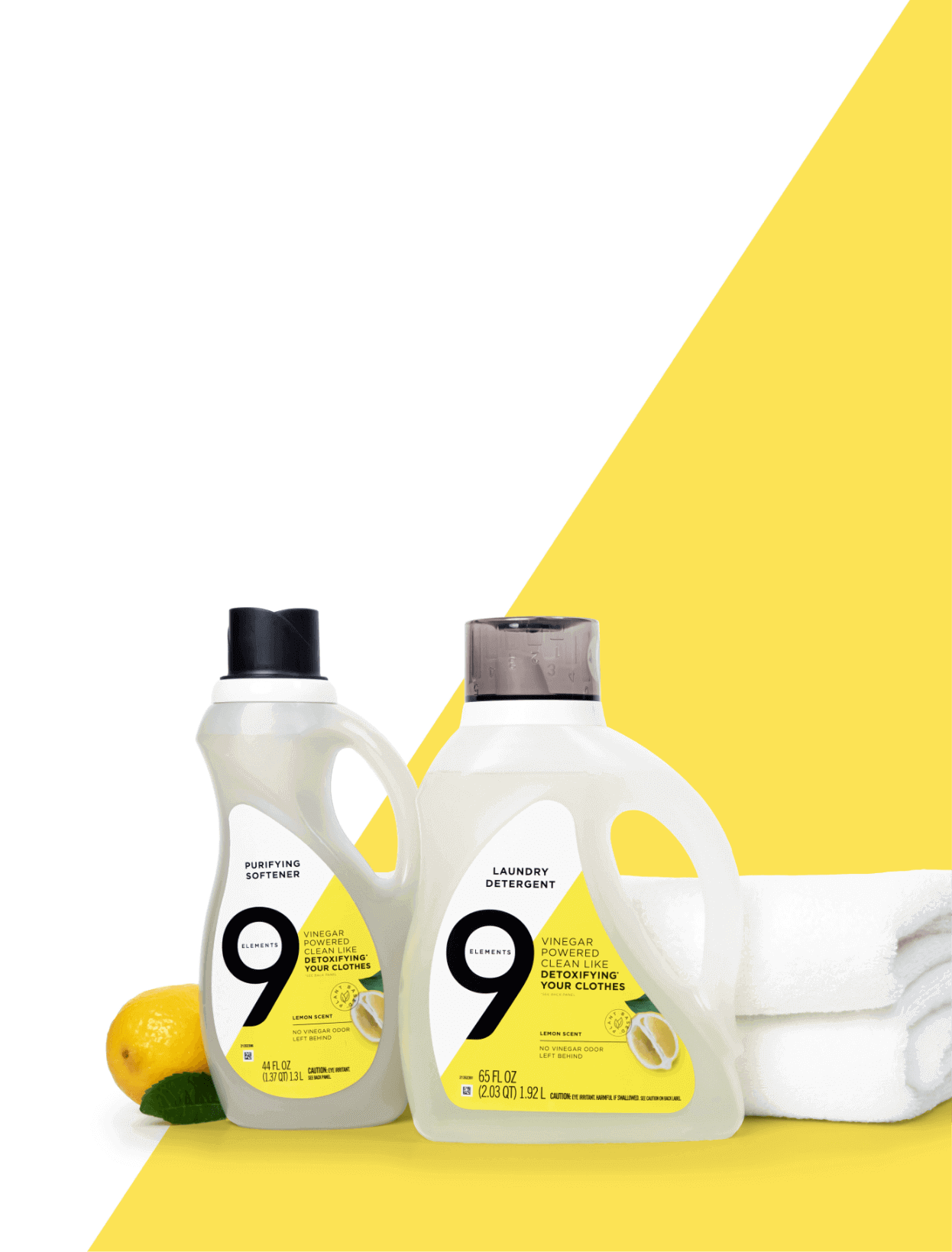 Lemons, Nine Elements Purifying Softener, Laundry Detergent and bright white towels.