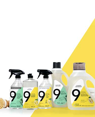 Lemon essential oil nine elements bathroom cleaner, dish soap, multipurpose spray, purifying softener, laundry detergent and bright white towels.