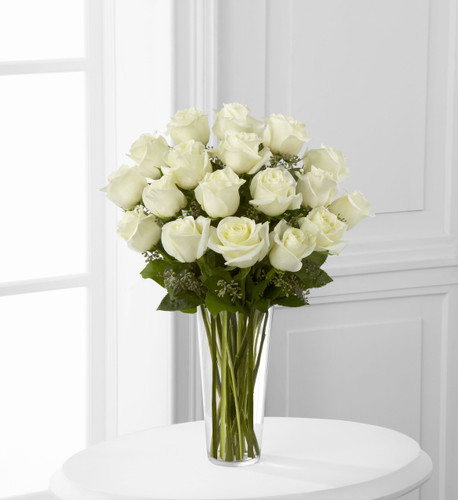 One Dozen White Vased Roses