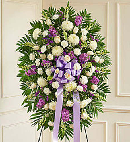 Deepest Sympathy Lavender & White Standing Spray
