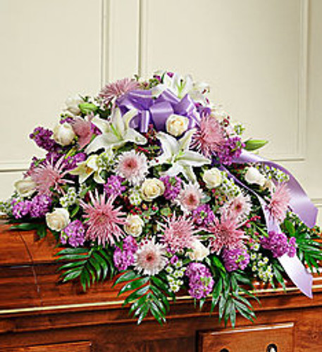 Cherished Memories Lavender Half Casket Spray