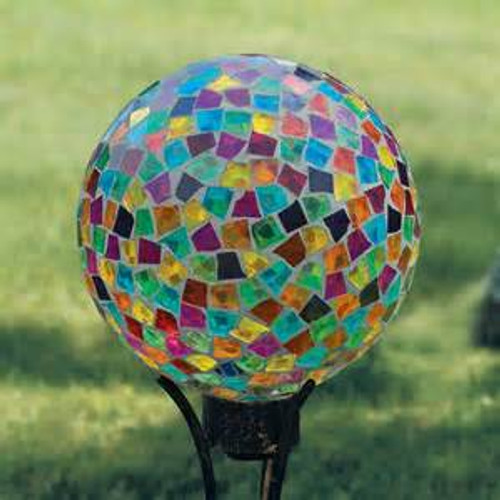 The mosaic gazing balls come in a purple/blue stain glass on a black stand.  Not the same colors as pictured.