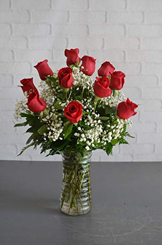 The FlowerLoft's One Dozen Red Vased Roses
