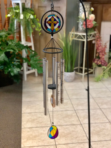 "Stained Glass Wind Chime 35"". Verses & Design vary. (LOCAL DELIVERY ONLY) Stand not included"