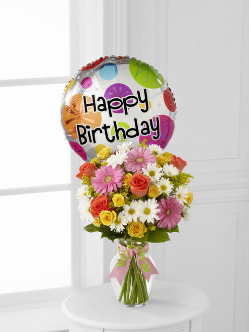 The FlowerLoft's Birthday Cheer Bouquet w/Mylar
