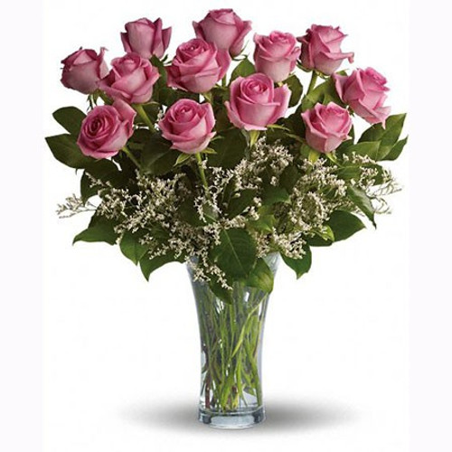 The FlowerLoft's One Dozen Pink Vased Roses