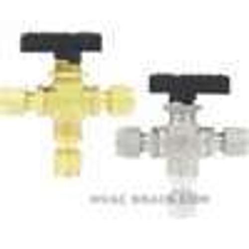 "Dwyer Instruments 3MSV-BD220, Compact 3-way ball valve, brass, 1/4"" tube, 318 mm orifice"
