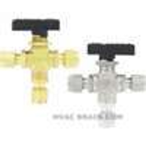 "Dwyer Instruments 3MSV-BF340, Compact 3-way ball valve, brass, 3/8"" female NPT, 635 mm orifice"