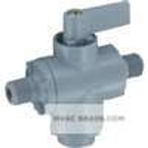 "Dwyer Instruments A-5002-1, PVC shut-off valve, 1/8"" hose barb inlet x 1/4"" hose barb outlet x 1/4"" hose barb outlet"