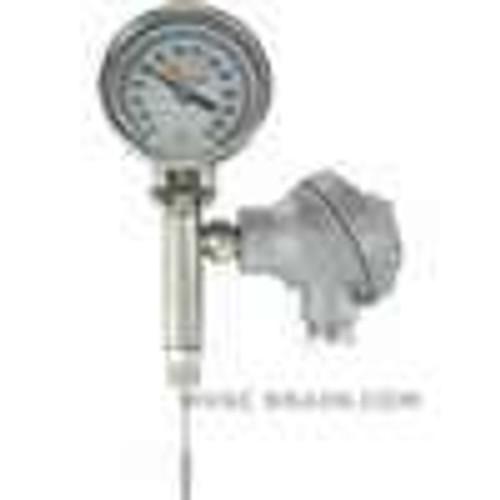 "Dwyer Instruments BTO325101, Bimetal thermometer with transmitter output, 25"" stem length, range 0-200 ¡F"