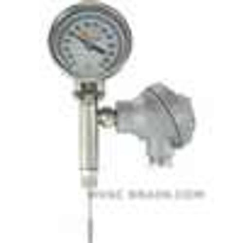 "Dwyer Instruments BTO32551, Bimetal thermometer with transmitter output, 25"" stem length, range 0-250 ¡F"