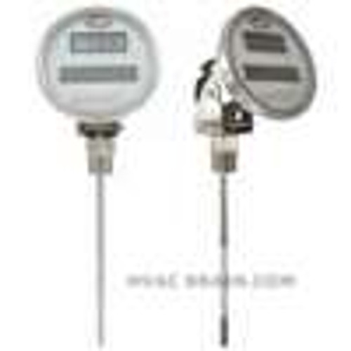 "Dwyer Instruments DBTA3122, Digital solar-powered bimetal thermometer, range -58 to 158¡F, 12"" stem"