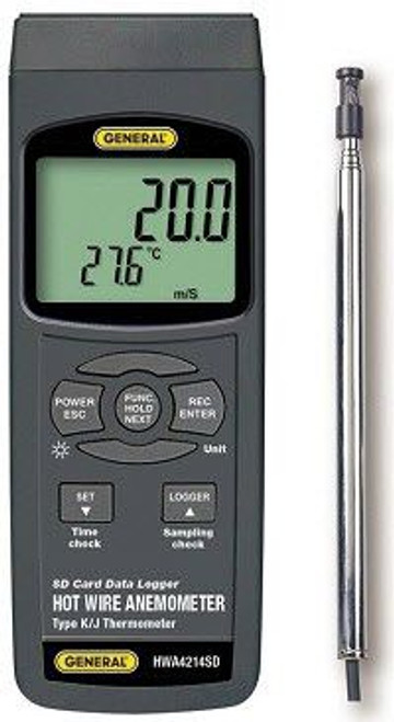 General Tools HWA4214SD Hot Wire Anemometer-Thermometer with CFM/CMM & Data Logging SD Card