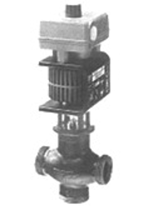 "Siemens MXG46132-12U, Magnetic 1-1/4"" Valve, 2-way or floating, 14 CV, 0 to 10V control, w/ NPT unions"