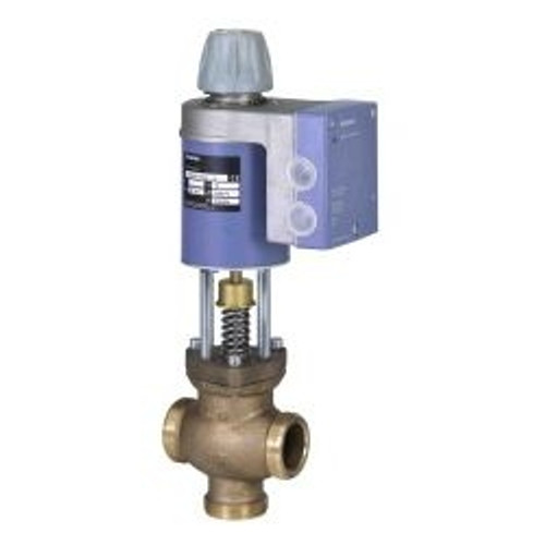 "Siemens MXG461B32-12, Magnetic Valve, 1-1/4"", 2-way or floating, 14 CV, 0 to 10V control, w/ fittings"