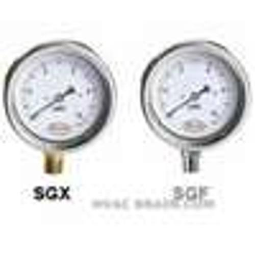 "Dwyer Instruments SGX-D7622N, Stainless steel low pressure gage, range -80-0"" wc(-2000-0 mm)"