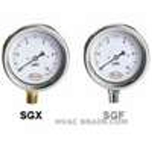 "Dwyer Instruments SGX-D8922N, Stainless steel low pressure gage, range -4-0-6"" wc (-100-0-150 mm)"