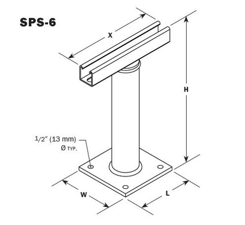 Vibro Acoustics SPS-6, SPS Seismic Pipe Stand (Fixed Height),  lbs rated load