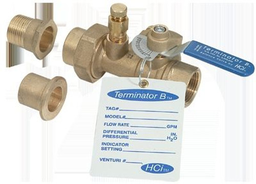 "HCi Terminator B SS Balance & Shutoff Valve with Stainless Steel Ball and Stem, TBSS-A, 1/2"", 01-110 GPM Range"