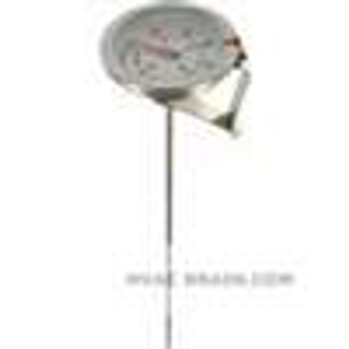 "Dwyer Instruments CBT175052, Clip-on bimetal thermometer, range -10 to 110, 5"" stem"