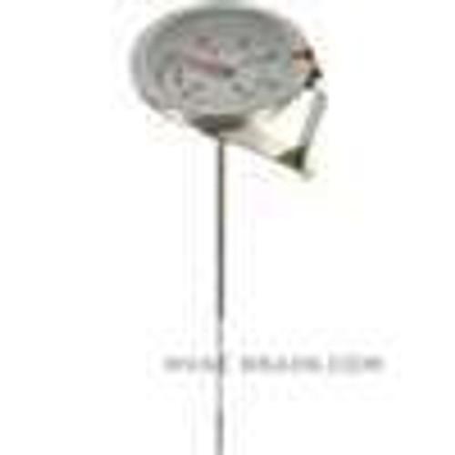 "Dwyer Instruments CBT1780121, Clip-on bimetal thermometer, range 50 to 400, 8"" stem"