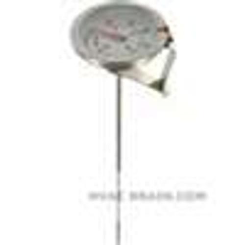 "Dwyer Instruments CBT178031, Clip-on bimetal thermometer, range 25 to 125, 8"" stem"