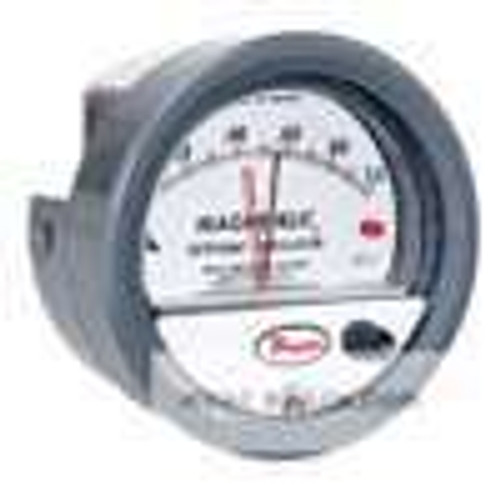 "Dwyer Instruments 2000-0-SP, Differential pressure gage, range 0-050"" wc, with set point indicator"