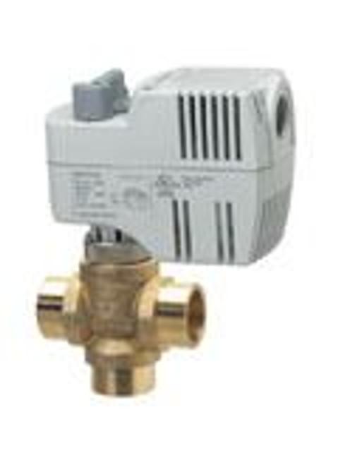 "Siemens 240-00531, Zone valve, 3-way, 1/2"", 25 CV, SWT w/ 115V 2-position, SR actuator, fails AB-B"