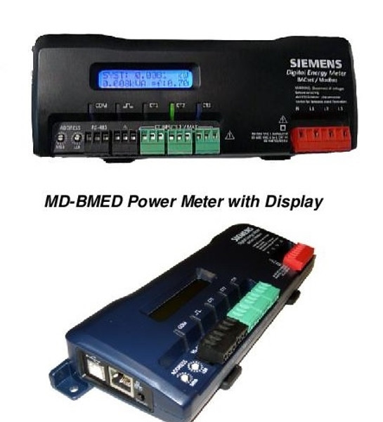 """Siemens MD-BMED-3-CTSC-100, BACnet-Modbus Meter with display, and three 100A, split-core current transformers with 1"""" windows"""