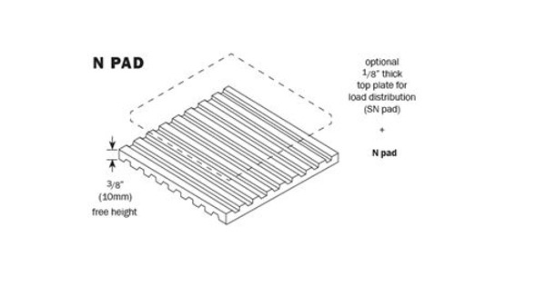 Vibro Acoustics N 912-45, N Vibration Isolation Pads, 4860 lbs rated load