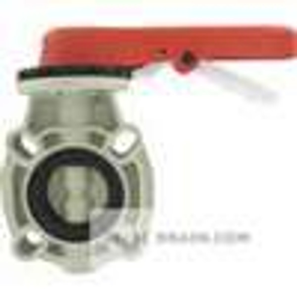 "Dwyer Instruments PBFV-202L311L, 2"" thermoplastic butterfly valve, CV of 126, FPM seal, locking hand lever"
