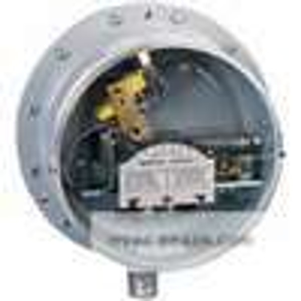 Dwyer Instruments PG-3-P2, Gas pressure/differential pressure switch, range 05-5 psid (03-345 bar), max deadband 03 psid (021 kPa), SPST mercury switch, closes on increase