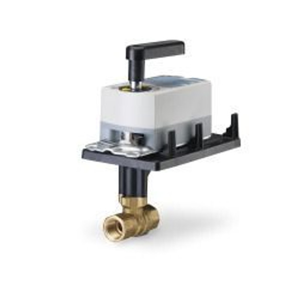 Siemens 171A-10320, 2-way 1-1/4 inch, 63 CV ball valve assembly with chrome-plated brass ball and brass stem, floating fail-in-place actuator, 200 psi close-off, NPT