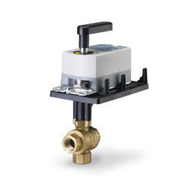 "Siemens 171A-10358S, 599 Series 3-way, 3/4"", 63 CV Stainless Steel Ball Valve Coupled with 3-Postion Floating, Non-Spring Return Actuator"