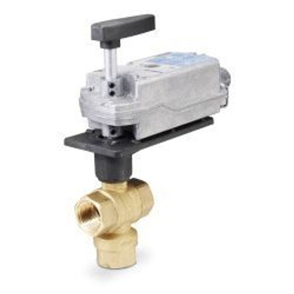 """Siemens 171F-10368S, 599 Series 3-way, 1-1/2"""", 40 CV Stainless Steel Ball Valve Coupled with 3-Position Floating, Spring Return Actuator"""