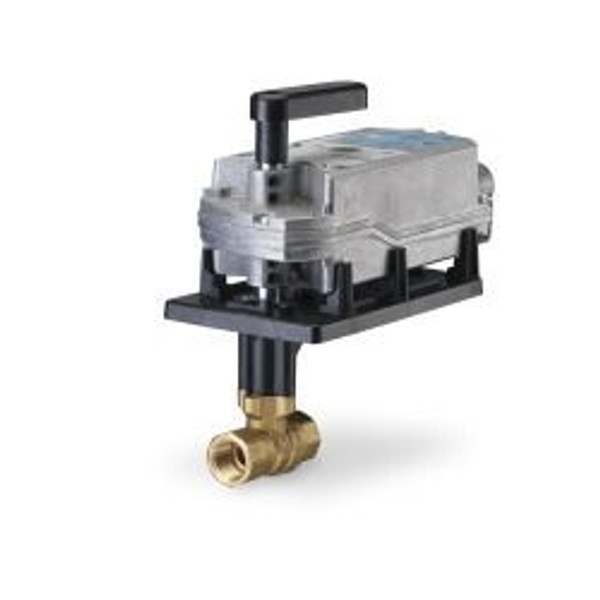 Siemens 172F-10324, 2-way 1-1/2 inch, 63 CV ball valve assembly with chrome-plated brass ball and brass stem, floating, NC, fail safe actuator, 200 psi close-off, NPT