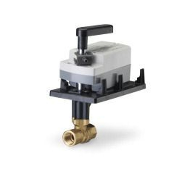 Siemens 172K-10308, 2-way 3/4 inch, 63 CV ball valve assembly with chrome-plated brass ball and brass stem, 2-10 V, NC, fail safe actuator, 200 psi close-off, NPT