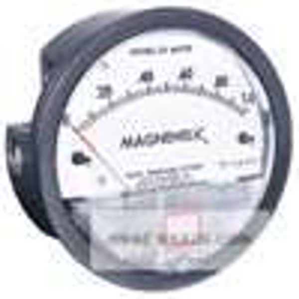 """Dwyer Instruments 2000-00N, Differential pressure gage, range 05-0-2"""" wc, minor divisions 005, calibrated for vertical scale position"""