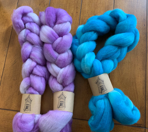 100% American Corridale roving dyed in a beautiful variety of colors. Each braid or bump varies in weight from 1.8oz to 3.4oz