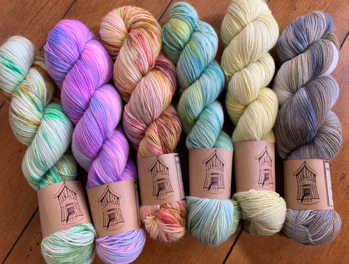 100% Organic Merino Singles--SUPER Soft Pictures don't accurately convey the beauty of these colors...particularly on the far right...Beachcombing colorway is much more muted.