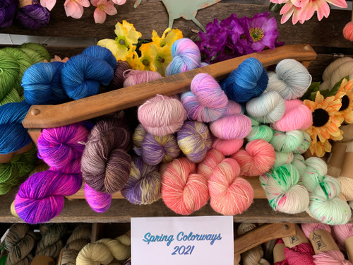 Bluefaced Leicester takes dye like no other...these wonderful colors are annually inspired by my garden.