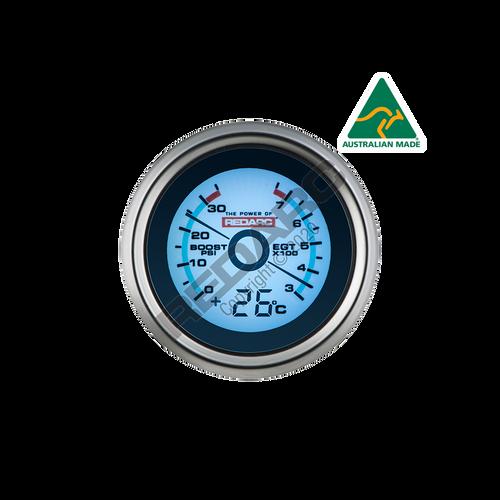 Redarc EGT & Boost Pressure 52mm Gauge With Optional Temperature Display