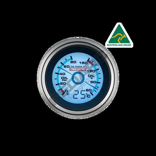 Redarc Oil Pressure & Oil Temperature 52mm Gauge With Optional Temperature Display