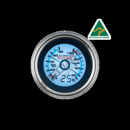 Redarc Oil Pressure & Water Temperature 52mm Gauge With Optional Temperature Display