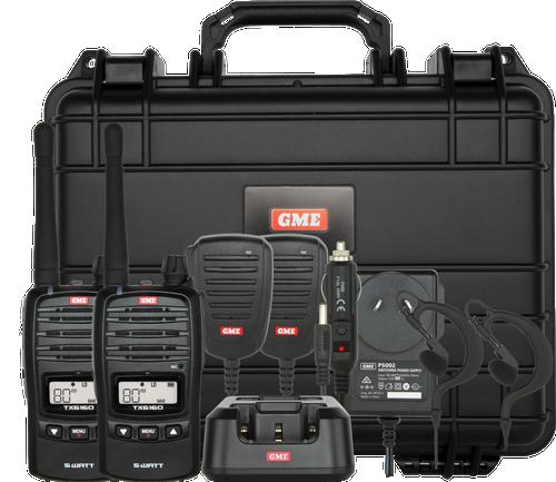GME 5/1 Watt UHF CB Handheld Radio including Accessories - Twin Pack